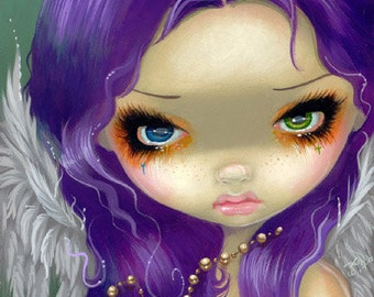 Faces of Faery 162 rosary cross angel big eye fairy face art print by Jasmine Becket-Griffith 6x6
