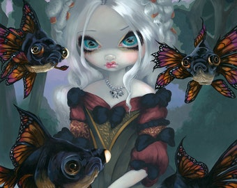 Poissons Volants: Poissons Les Yeux Globuleux flying fish fairy art print by Jasmine Becket-Griffith BIG 12.75x14.75