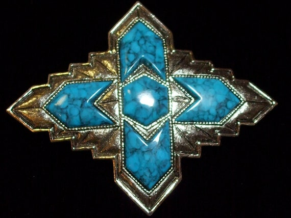 1 Piece Vintage Costume Jewelry Turquoise Silver Tone Metal setting Brooch Pin Indian Maiden Sarah Coventry