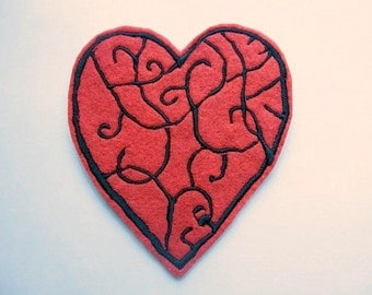 Red heart patch - Appliques - Iron on patches - valentines - love - patches for jackets - back patches - embroidery