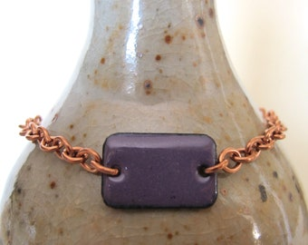 Purple Bracelet, Enamel Bracelet, Enameled Copper, Copper Chain, Chain Bracelet, Purple Rectangle, Geometric Jewelry, Copper Bracelet