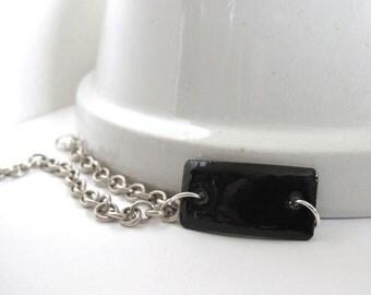 Black Bracelet, Enamel Bracelet, Enameled Copper, Silver Chain, Black Enamel, Chain Bracelet, Geometric Jewelry, Silver Bracelet
