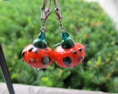 Jack-O-Lantern Pumpkin Earrings Lampwork Glass Swarovski Crystal Gunmetal