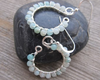 Amazonite and Sterling Silver Wire Wrapped Gemstone Earrings