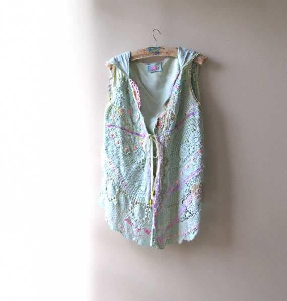 HALF PRICE - Mint Vest, Waistcoat, Pink, Lemon, Vintage Lace, Sea Shells, Hood, Bohemian Gypsy