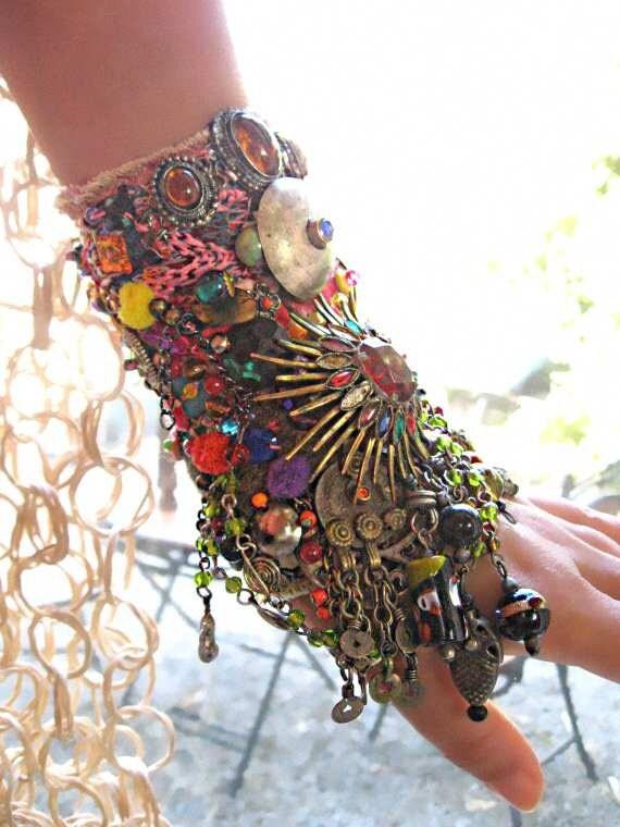 Cosmic Invasion Gypsy Jangle Bracelet, Bejewelled, Kuchi, Rainbow, Heavily Encrusted, Bohemian