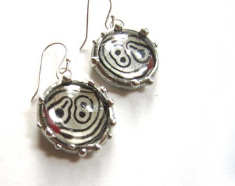 The Amazing 88 Butterfly - Real Black and White Butterfly Earringe - Dangle Earrings in Glass Dome