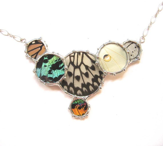 Colorful Real Butterfly Wing Cluster Necklace - Real Butterfly Jewelry