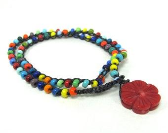 Czech Glass,  Multi-Color,  Crochet, Wrap, Layer, Boho Bracelet
