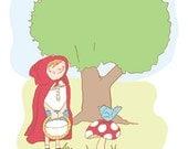 Nursery Art Print - Red Riding Hood 5x7 - Nursery Room Decor