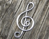 Aluminum Treble Clef Music Ornament, Music Note Gift for Musician, Music Gift, Choir Gift Hanging Decoration Unisex Stocking Stuffer