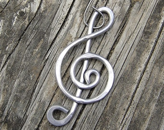 Aluminum Treble Clef Music Ornament, Music Note Gift for Musician, Music Teacher Gift, Choir Gift Hanging Decoration Unisex Stocking Stuffer