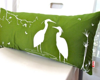 SALE - Olive Green Egret Lovers in the Swamp Rectangle Pillow