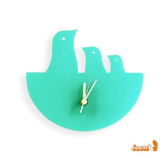 Mint Green Bird Nest Hanging Clock