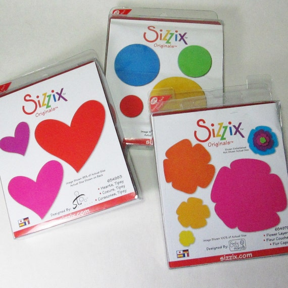 RESERVED FOR M ONLY - Sizzix Orignals  - Three Dies - Flower Layers, Tipsy Hearts, Circles 2 - Used