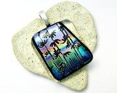 Dichroic Tropical Sunset Fused Glass Pendant