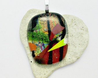 Fused Glass Jewelry / Gorgeous Fall Colors / Dichroic Pendant