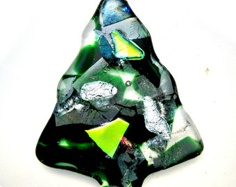 Christmas Tree Paper Weight - Fused Dichroic Glass Christmas Tree Paper Weight