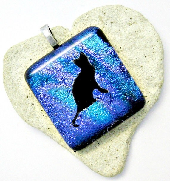 Fused Dichroic Glass Pendant - Love My Kitty Pendant