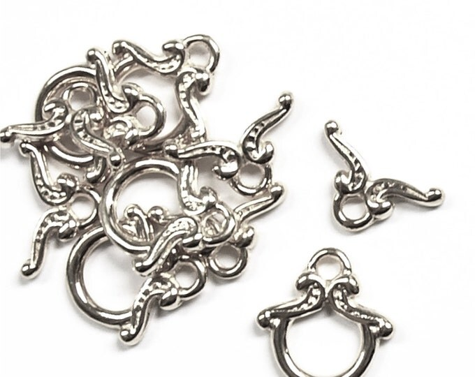 CLARP-TG01 - Clasp, Toggle, 12mm, Rhodium - 5 Sets