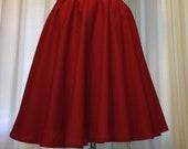 Red Circle Skirt Custom Pin Up Elastic Womens Skirt Cotton Many Colors Full Skirt