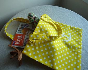 Recycled sail and marimekko polka dot tote bag or project bag