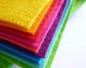 "BRIGHTS Premium Wool Blend Felt Pack 10x 12"" squares"