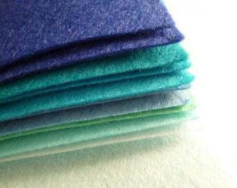 "BLUES Premium Wool Blend Felt Pack 10x 12"" squares"