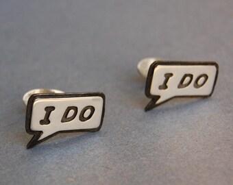 "Mens Sterling silver wedding cufflinks ""I DO"""