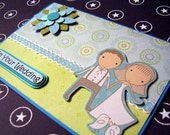 Wedding Congratulations Card. Lovely Couple Strolling at the Park