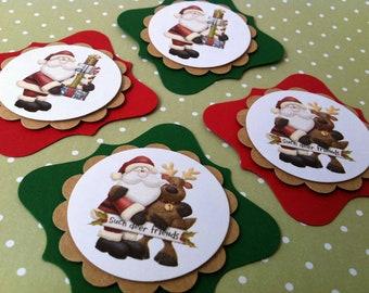 Christmas Tags Set of 10. Santa Claus