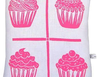 block print grid cupcake accent pillow