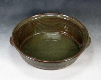 Medium Green Oval Casserole Handthrown Stoneware Pottery 3