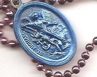 Soldier Boys, St. Michael the Archangel  Patron Saint Necklace on Antique Copper Colored  Ball Chain