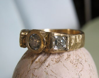 Rough raw gold rustic ring-Deposit for 3 stone ring - Talisman