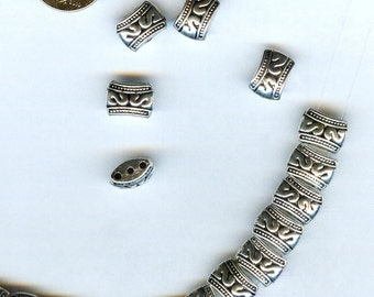 GORGEOUS Bright Silver Pewter Etched Multi-Hole Spacer Beads 10mmx8mm 6pcs