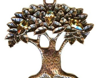 Tree of Life Pendant Oxidized Copper with Topaz Color Rhinestones 50mm 2""