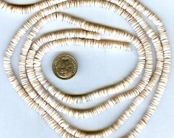 "Tiger Conus Natural Shell Heishi Beads 4-5mm 24"" Strand"