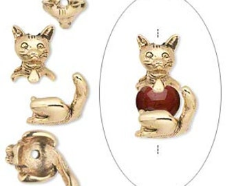 Precious Kitty Cat Antique Gold 2 pc Bead Cap Set Pewter 19mm 1 set