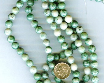 8mm Qinghai Green Jasper Gemstone Round Beads 1/2 Strand 25 beads