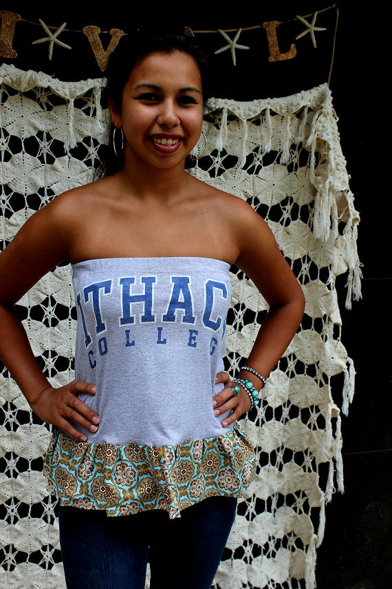 SALE--REVIVAL Upcycled TShirt Tube Top/Shirt, Ithaca College, Extra Small to Small, Eco Friendly, Repurposed, Recycled Clothing