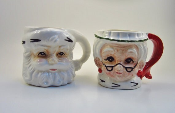 Vintage Santa Claus and Mrs. Claus Mugs - Pair - Retro Christmas Cups - Lefton