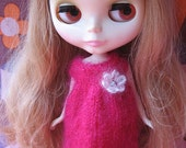 Blythe Cute Pink Mohair Smock Dress with Flower
