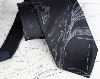Detroit map necktie. Zug Island & River Rouge. Screenprinted men's tie, smoke gray print. Microfiber.