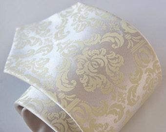 Damask necktie. Ivory cream & platinum tie. Silkscreened men's wedding tie. Elegant, rustic, Victorian inspired ceremony.