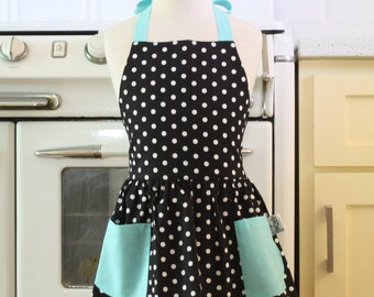 Retro Apron Black and White Polka Dot with Aqua Full Apron for Little Girls
