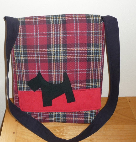 SALE Scottie Dog Wool Messenger Bag