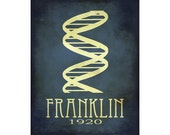 24x36 Rosalind Franklin Science Art Double Helix DNA Rock Star Scientist Physics Diagram Educational Steampunk Poster Geek Smart Dorm Decor
