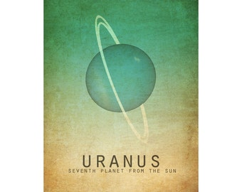 11x14 Uranus Astronomy Print Solar System Space Art Planet Universe Milky Way Galaxy Stars Moon Astrophysics Geek Chic Nerd Science Posters