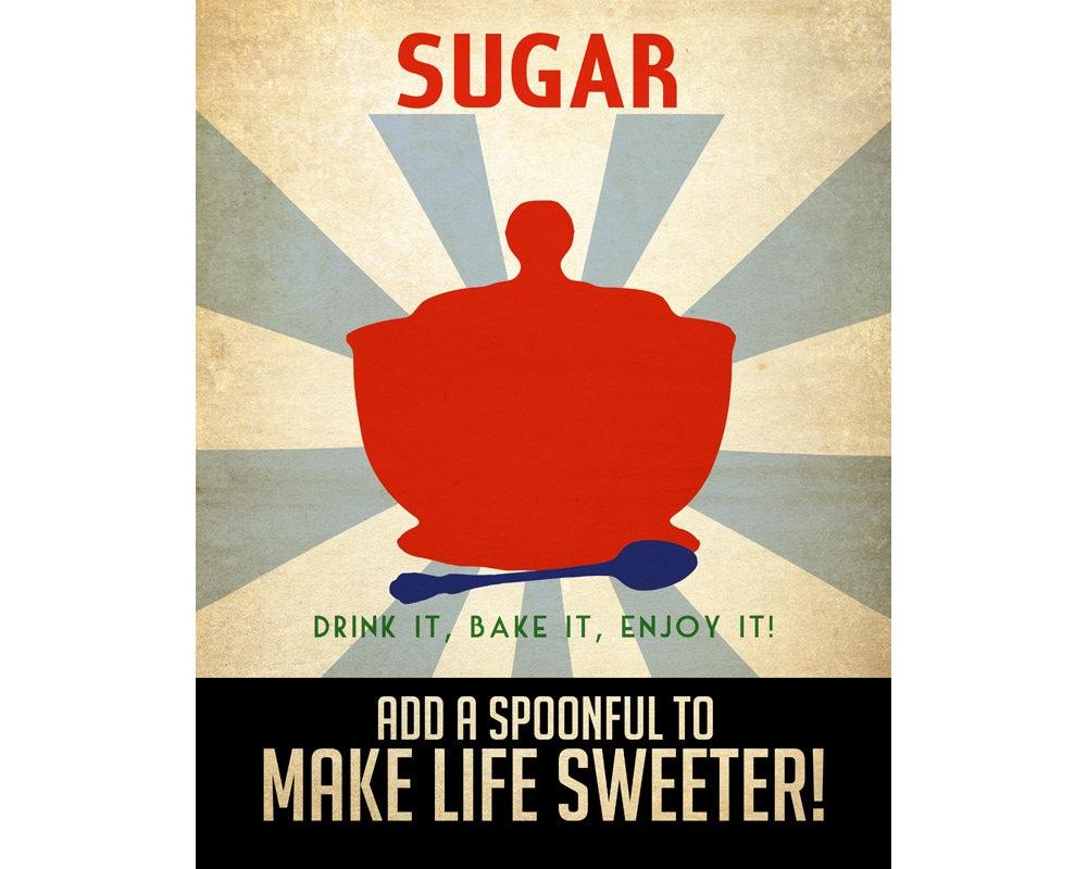 8x10 Kitchen Art Print Vintage Style Propaganda Poster Sugar